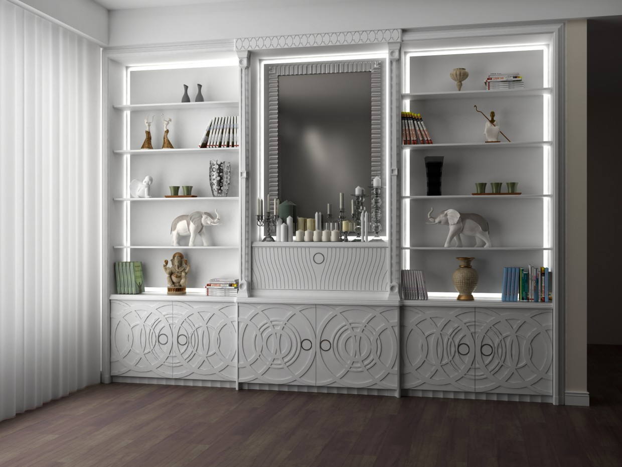 Wardrobe for the living room in 3d max vray image