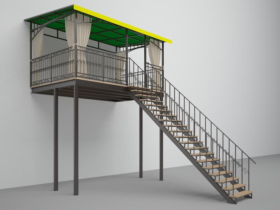 Balcony in 3d max vray 2.5 image