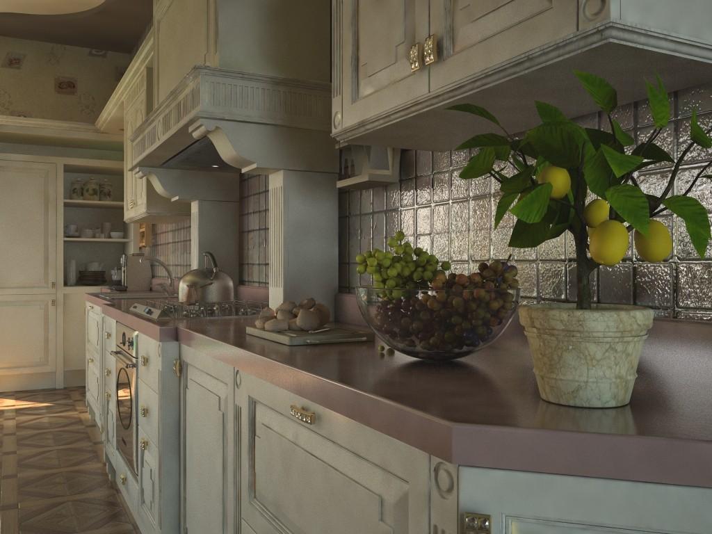 imagen de La cocina de la casa de país en 3d max vray