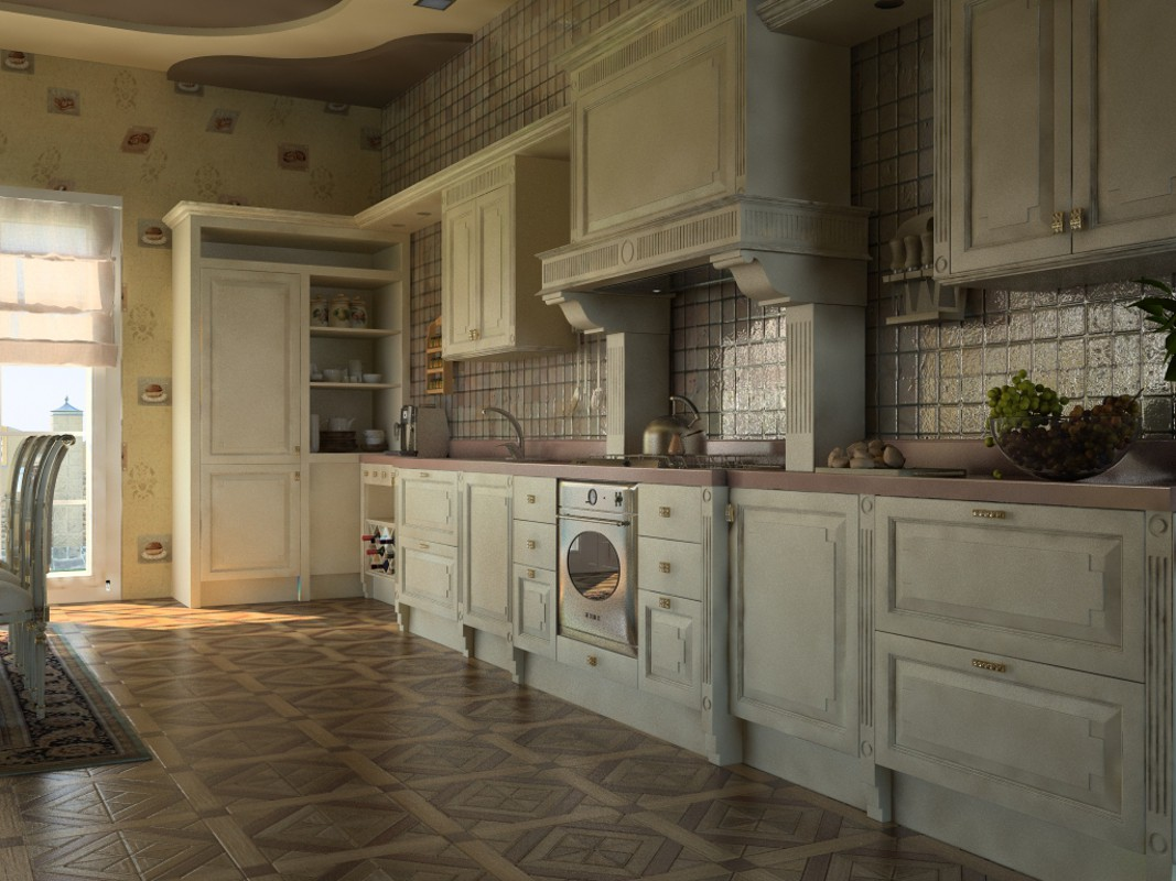 The country house kitchen in 3d max vray image