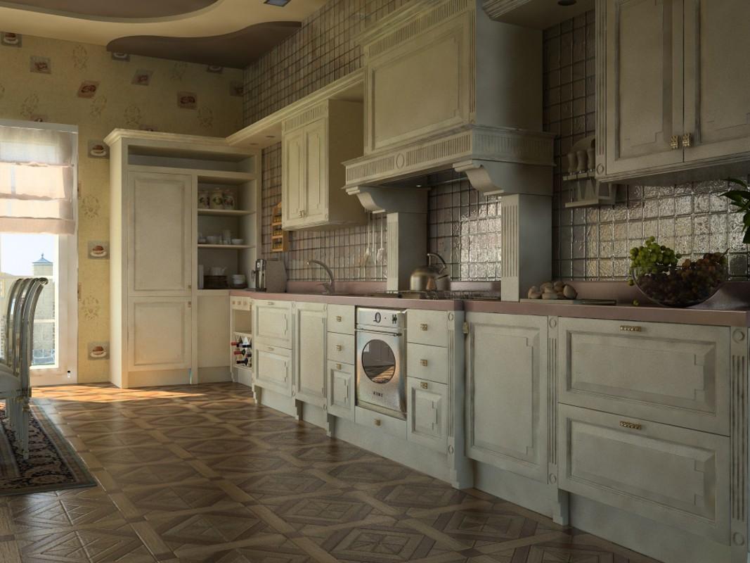 visualisation 3D du projet du La cuisine de maison de pays 3d max , rendre vray Василина