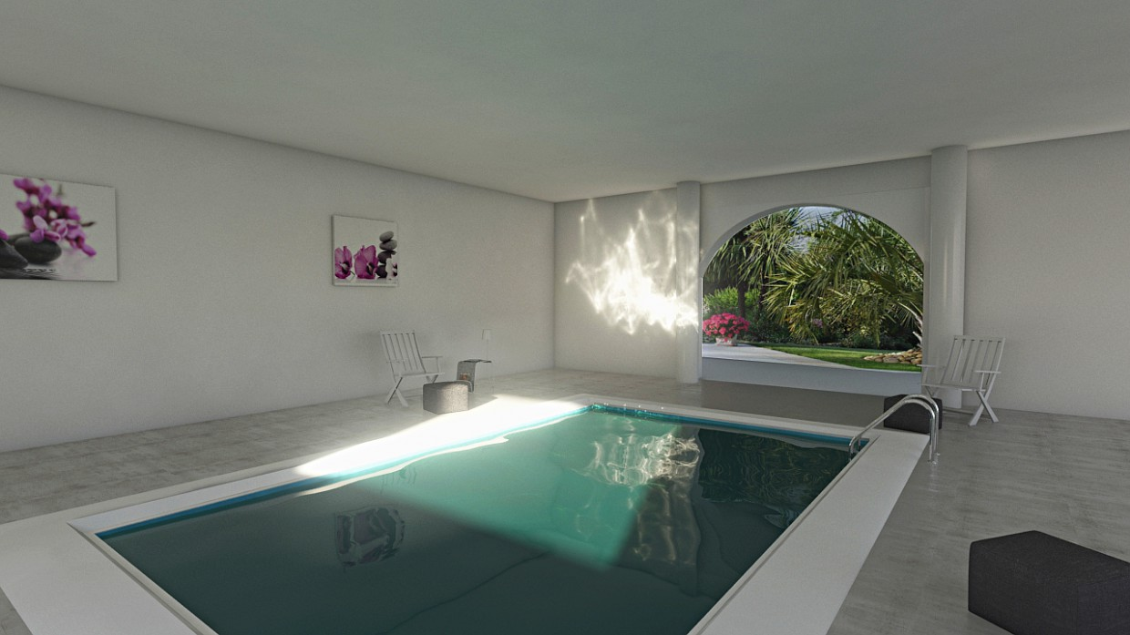 3d visualization of the project in the pool 3d max, render mental ray of bilal mezzari