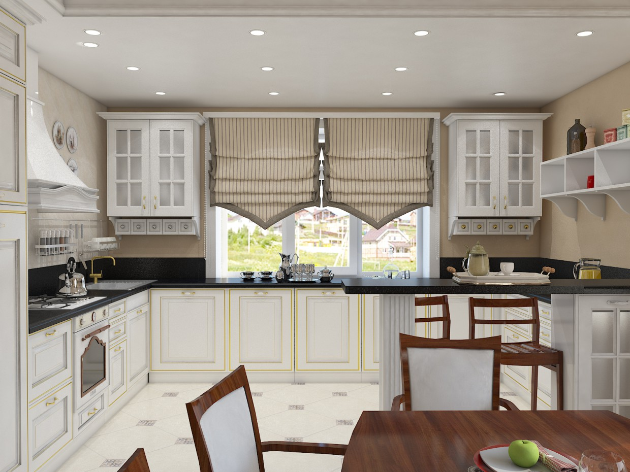 Kitchen visualization in 3d max vray image