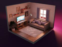 Interior de una pequeña habitación acogedora.