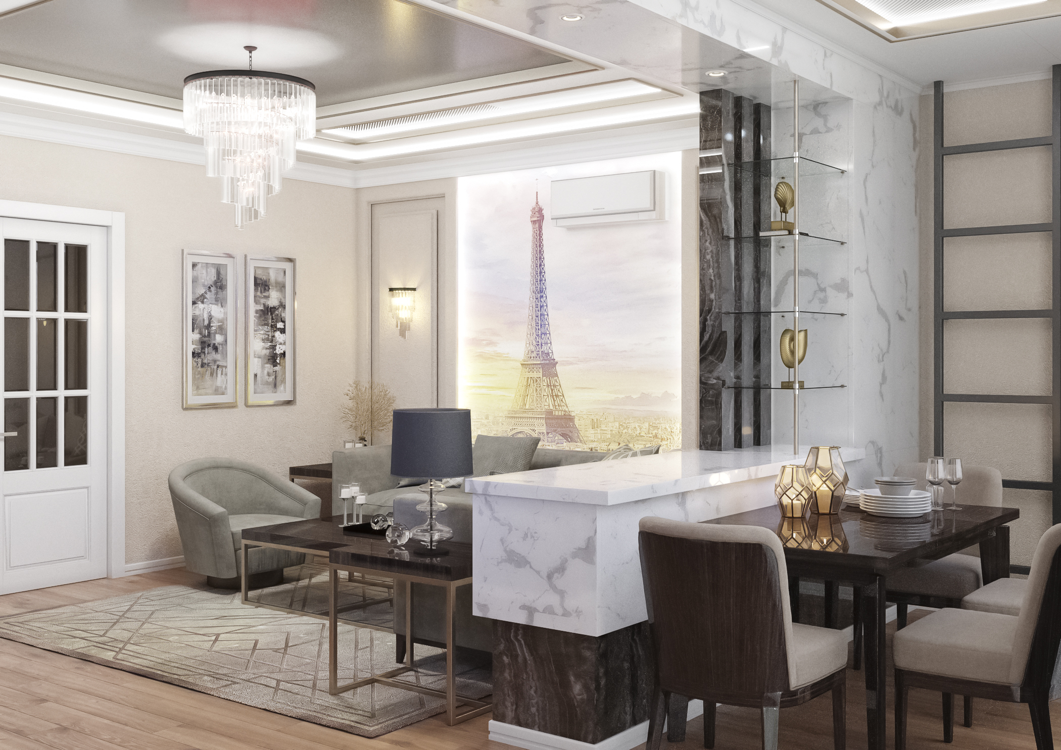 Living-dining room in 3d max corona render image