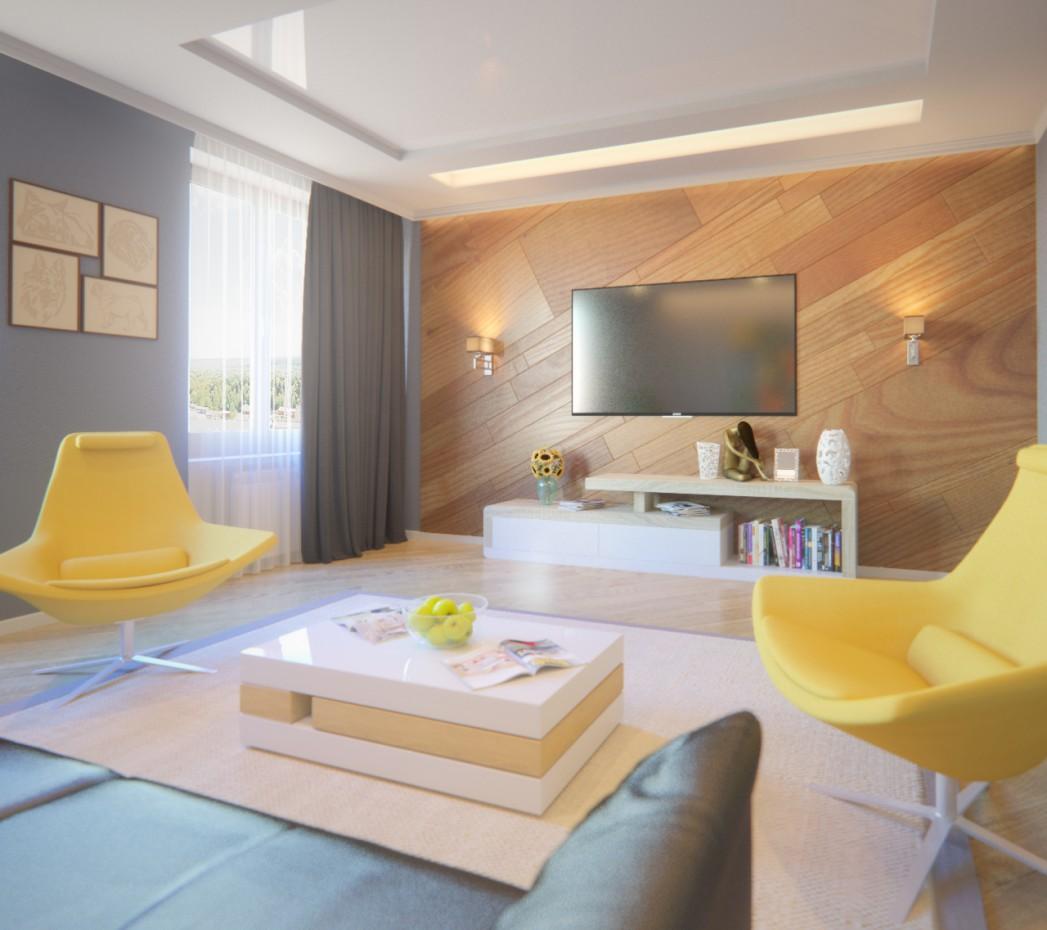 Дизайн гостинной в 3d max corona render изображение