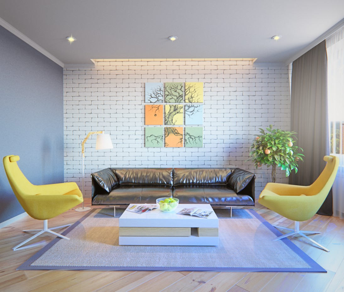 Design living room in 3d max corona render image
