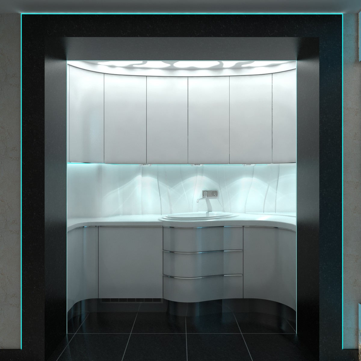 3d visualization of the project in the Kitchenette 3d max, render vray of nedesigner