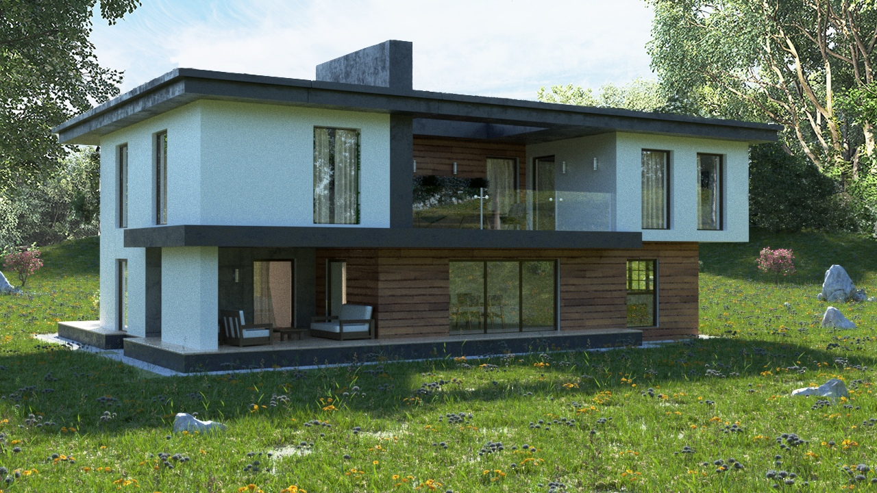 Summer house in 3d max corona render image