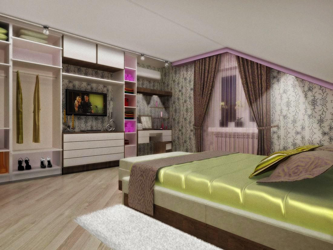 Bedroom 30-year-old couple in 3d max vray image