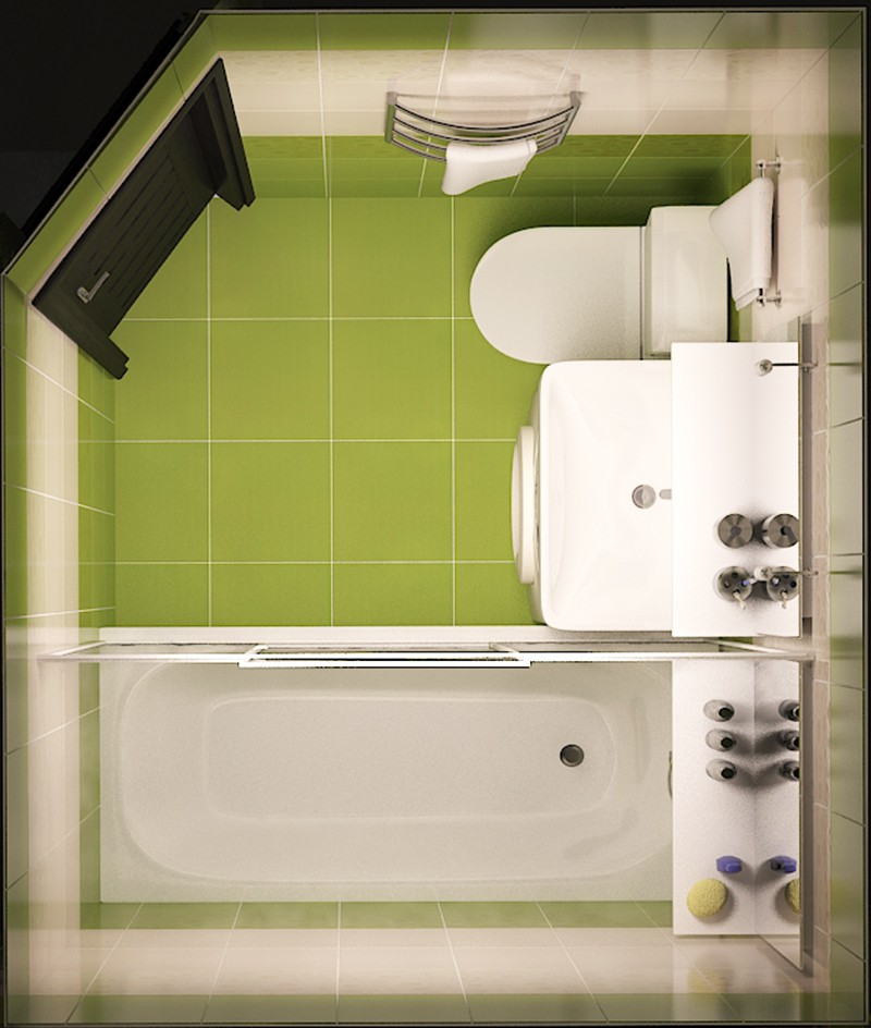 3d візуалізація проекту Ванна в хрущовці (вид зверху) в 3d max, рендер vray від artistos