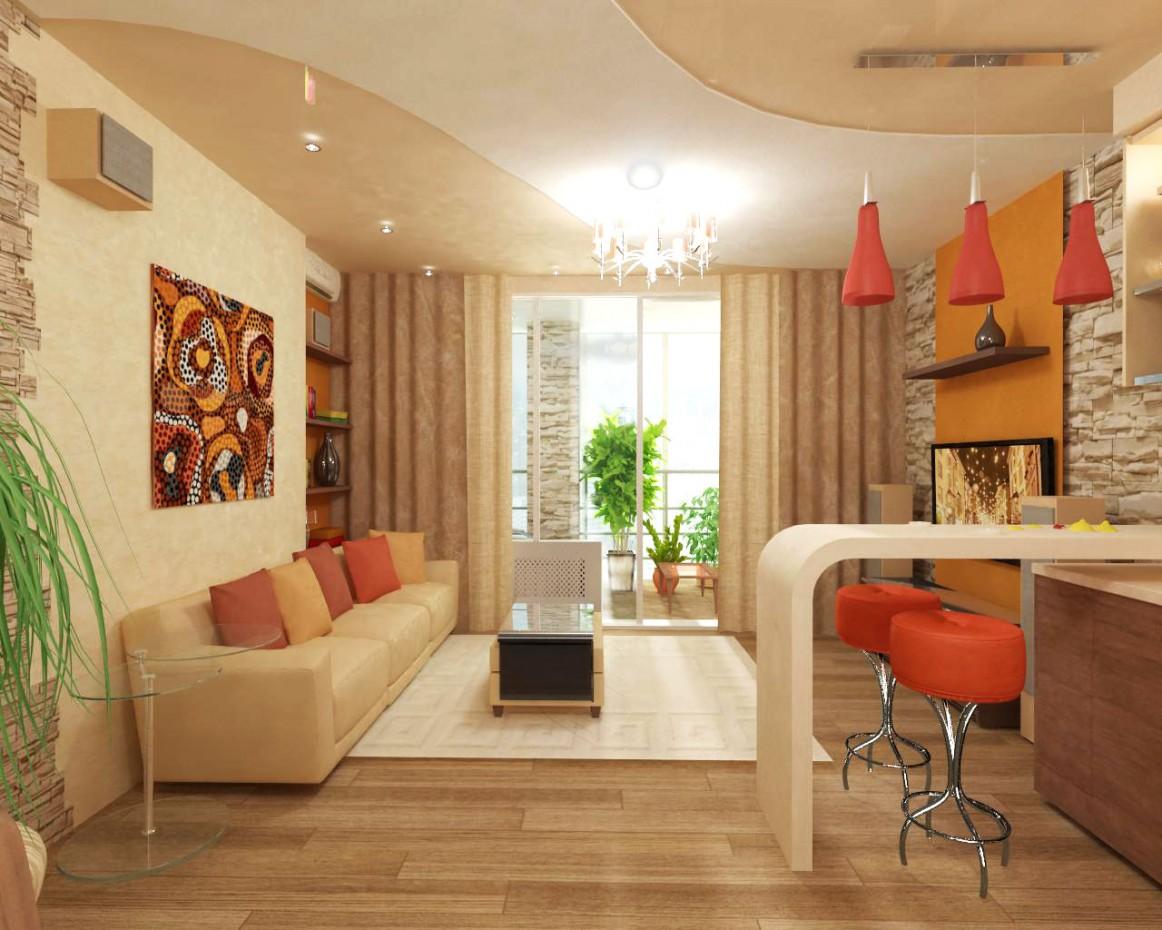 3d визуализация проекта Кухня-гостиная в 3d max, рендер vray от NATALya