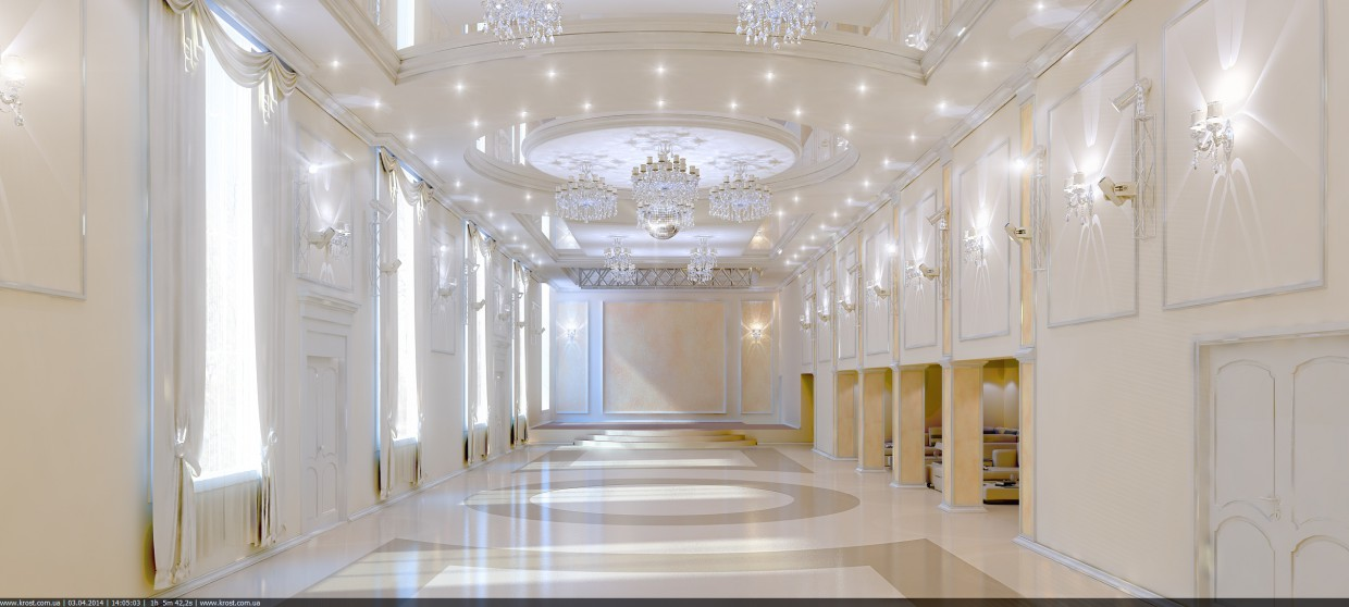 Big Hall in 3d max vray image