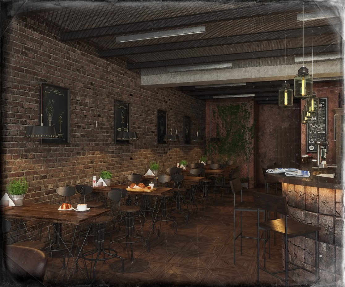 Vintage Cafe in 3d max vray image