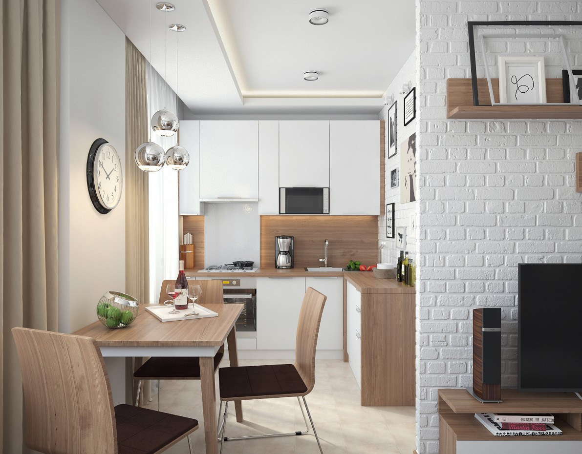 Living Room-Kitchen Combo in 3d max vray image