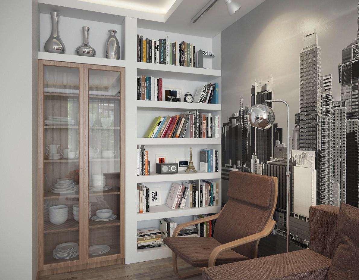 Вітальня-кухня Combo в 3d max vray зображення