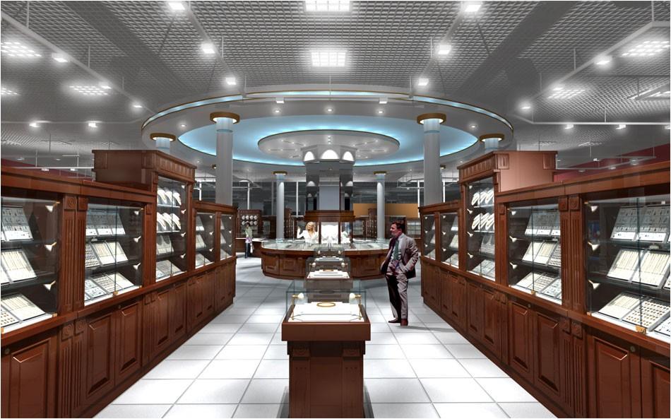 visualización 3D del proyecto en el almacén de joyería 3d max render vray OLEG