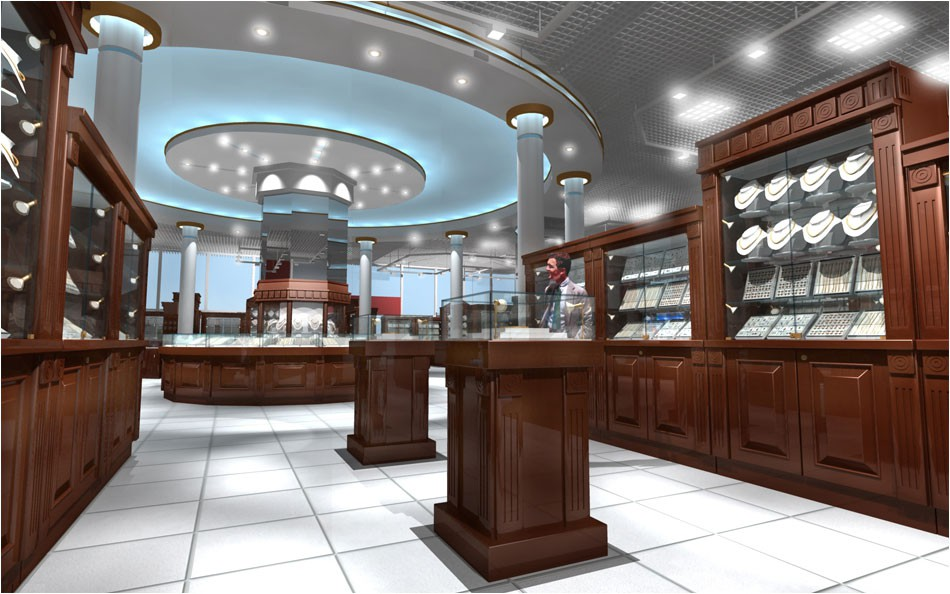 Jewelry store in 3d max vray image