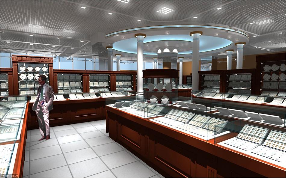 imagen de almacén de joyería en 3d max vray