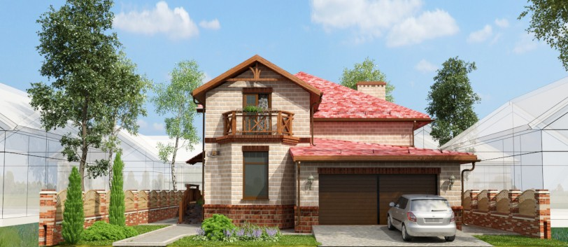 Sketch of a residential house in 3d max vray image