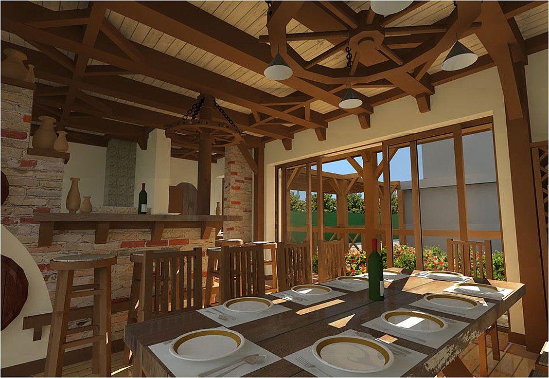imagen de El salón de diseño de interiores en una casa de huéspedes de verano en 3d max vray