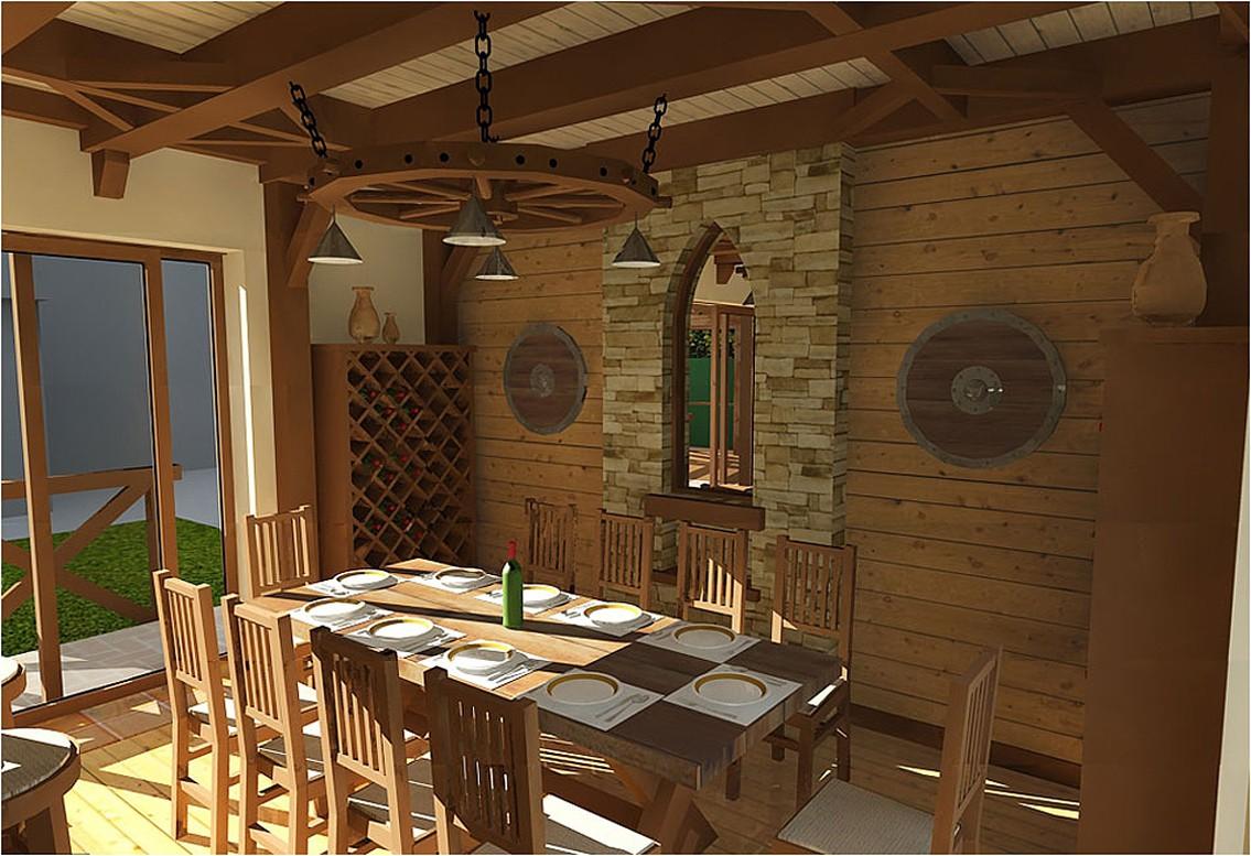 Дизайн інтер'єру вітальні в літньому гостьовому будиночку в 3d max vray зображення