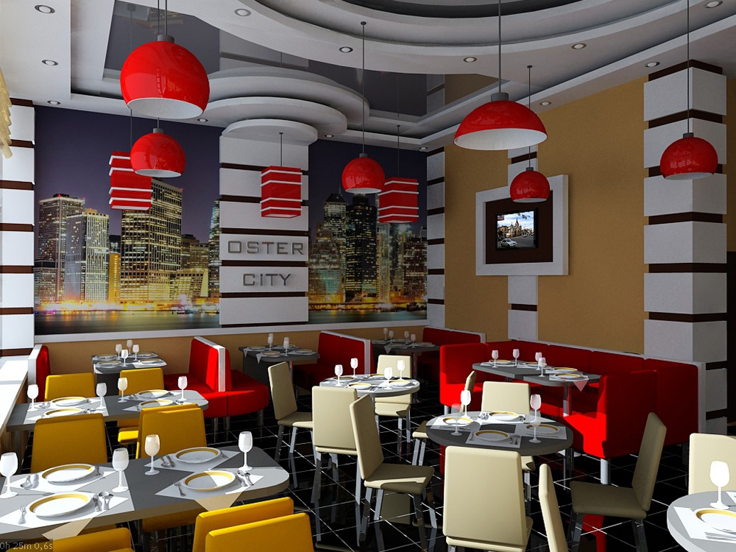 Restaurant in 3d max vray image