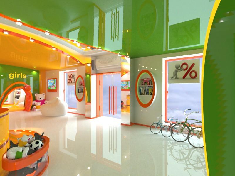 imagen de babyshop de tienda infantil en 3d max vray