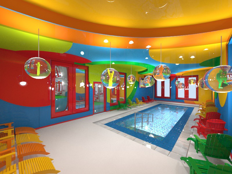 Fitness Club Alex fitnes in 3d max vray image