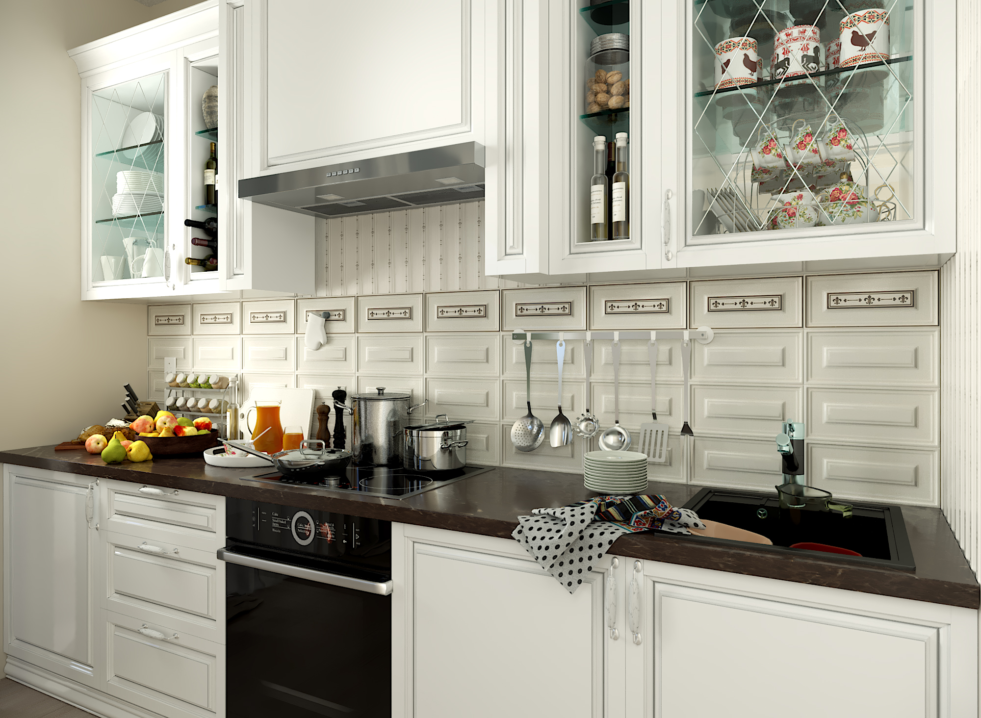 3D visualization of the kitchen in 3d max corona render image