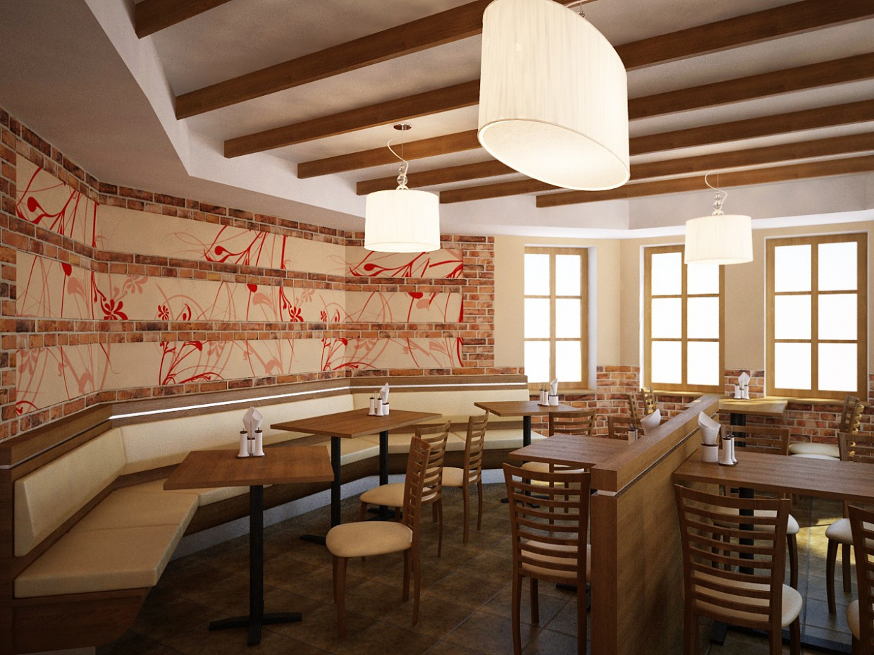 Pizzeria and Pub in 3d max vray image