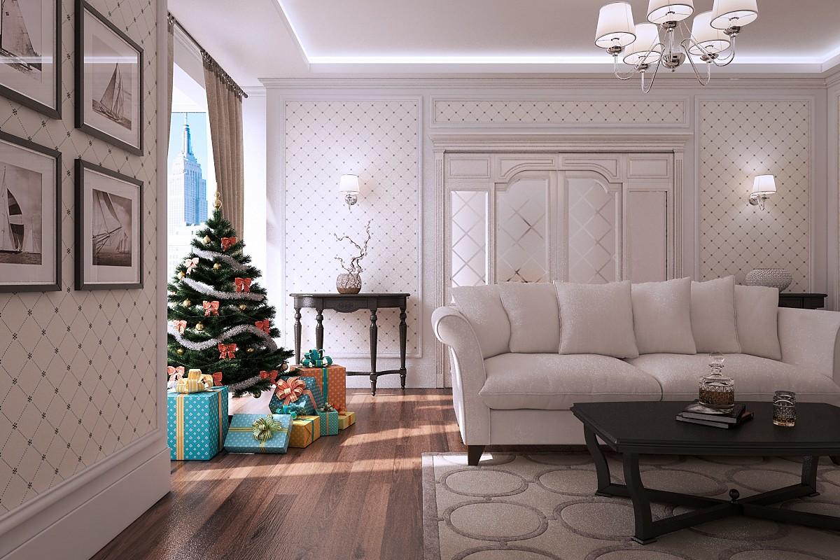 Гостинная Новый год в 3d max vray изображение