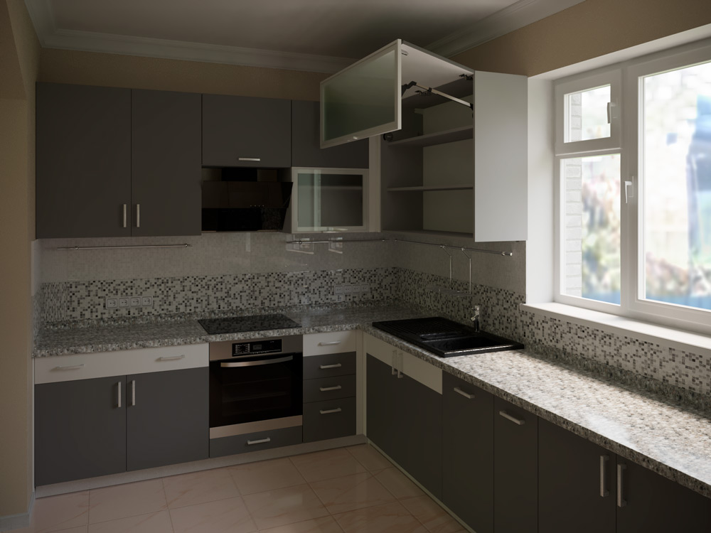 visualization of a kitchen in 3d max corona render image