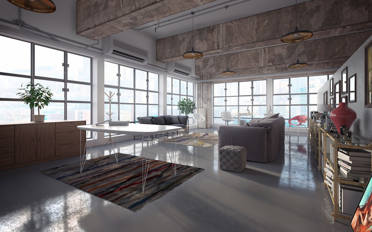 Loft collector in Hong Kong in 3d max corona render image