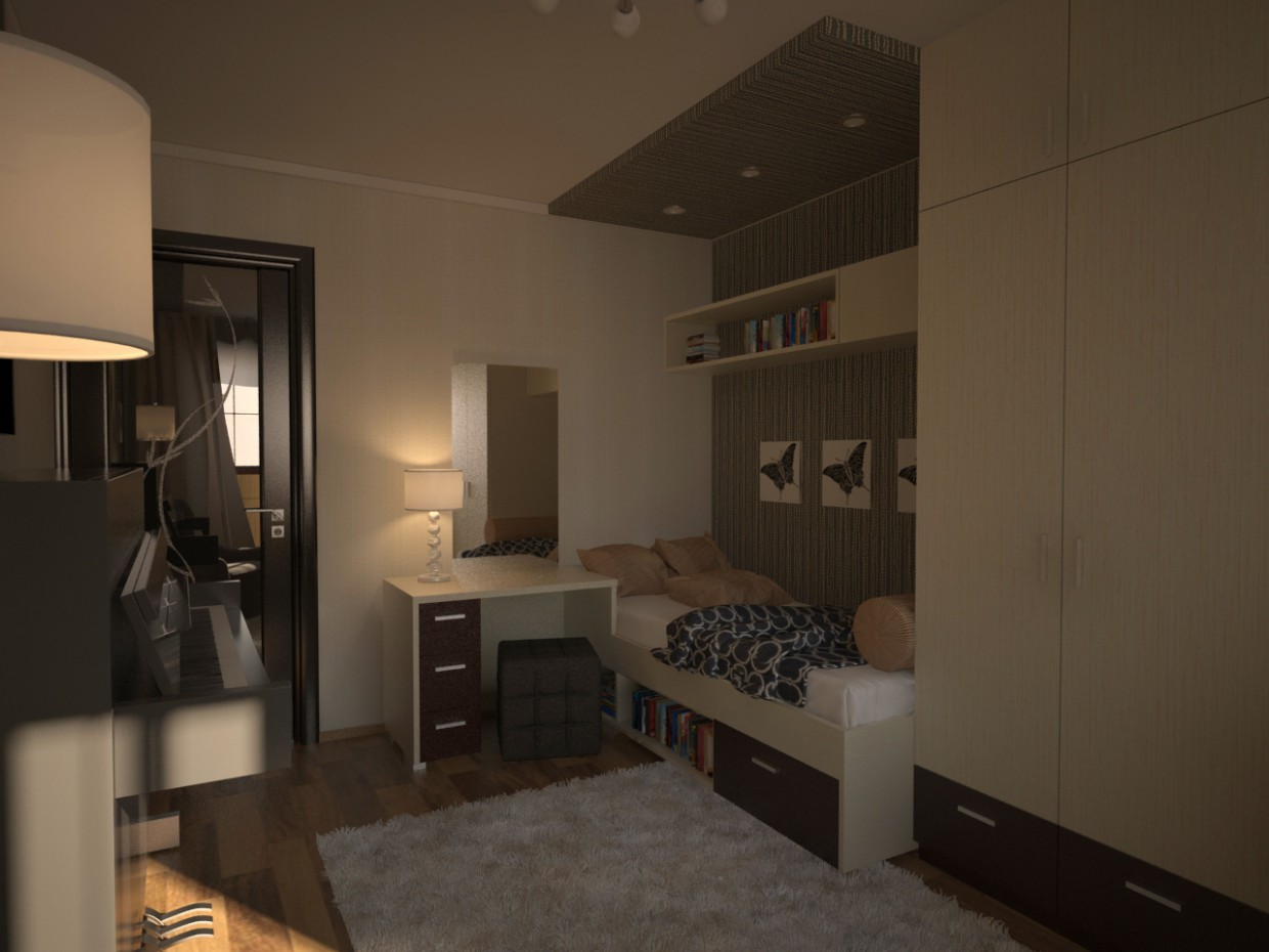 3d visualization of the project in the girls Room 3d max, render vray of grin-81
