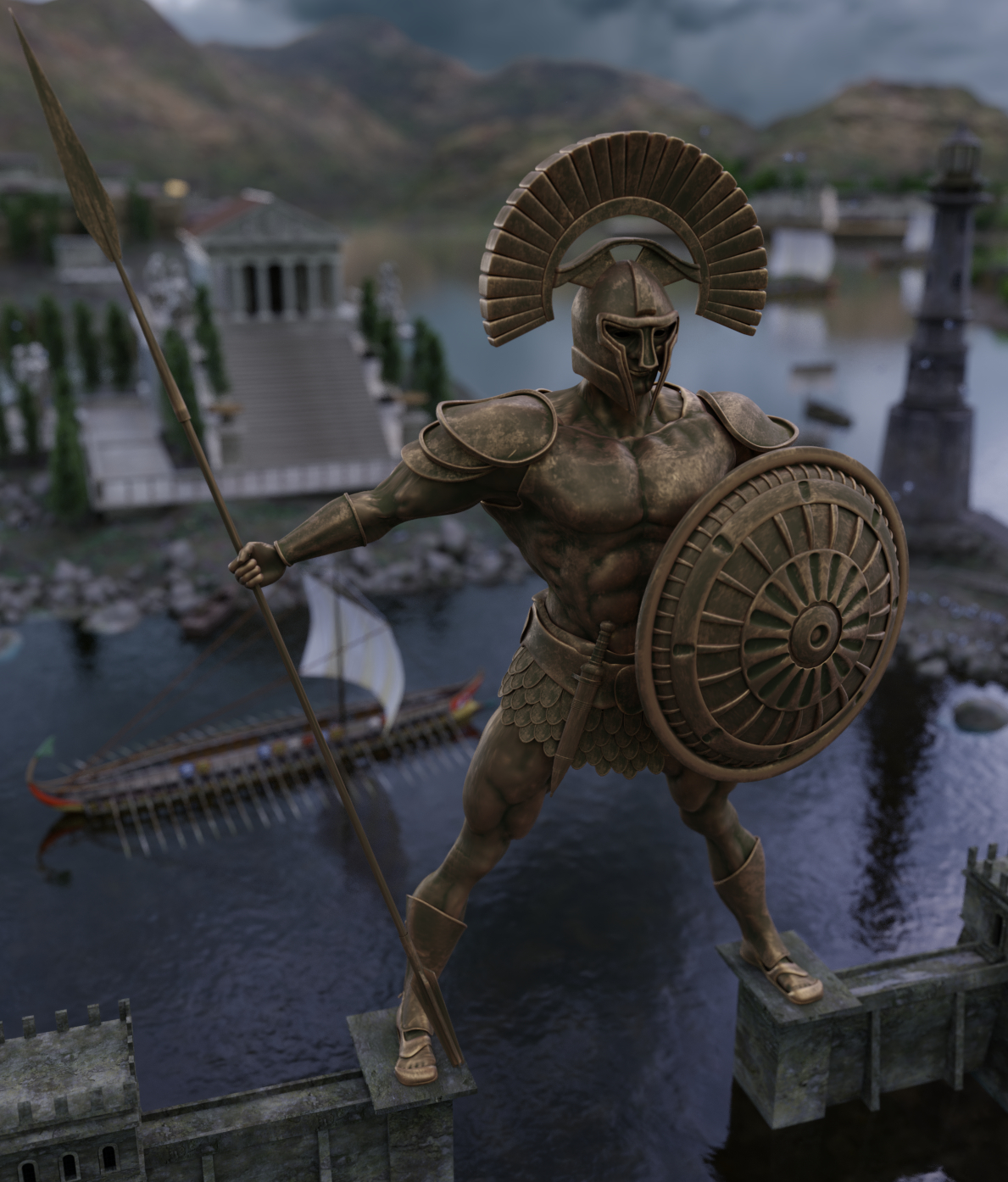 The Colossus of Rhodes in Blender cycles render image