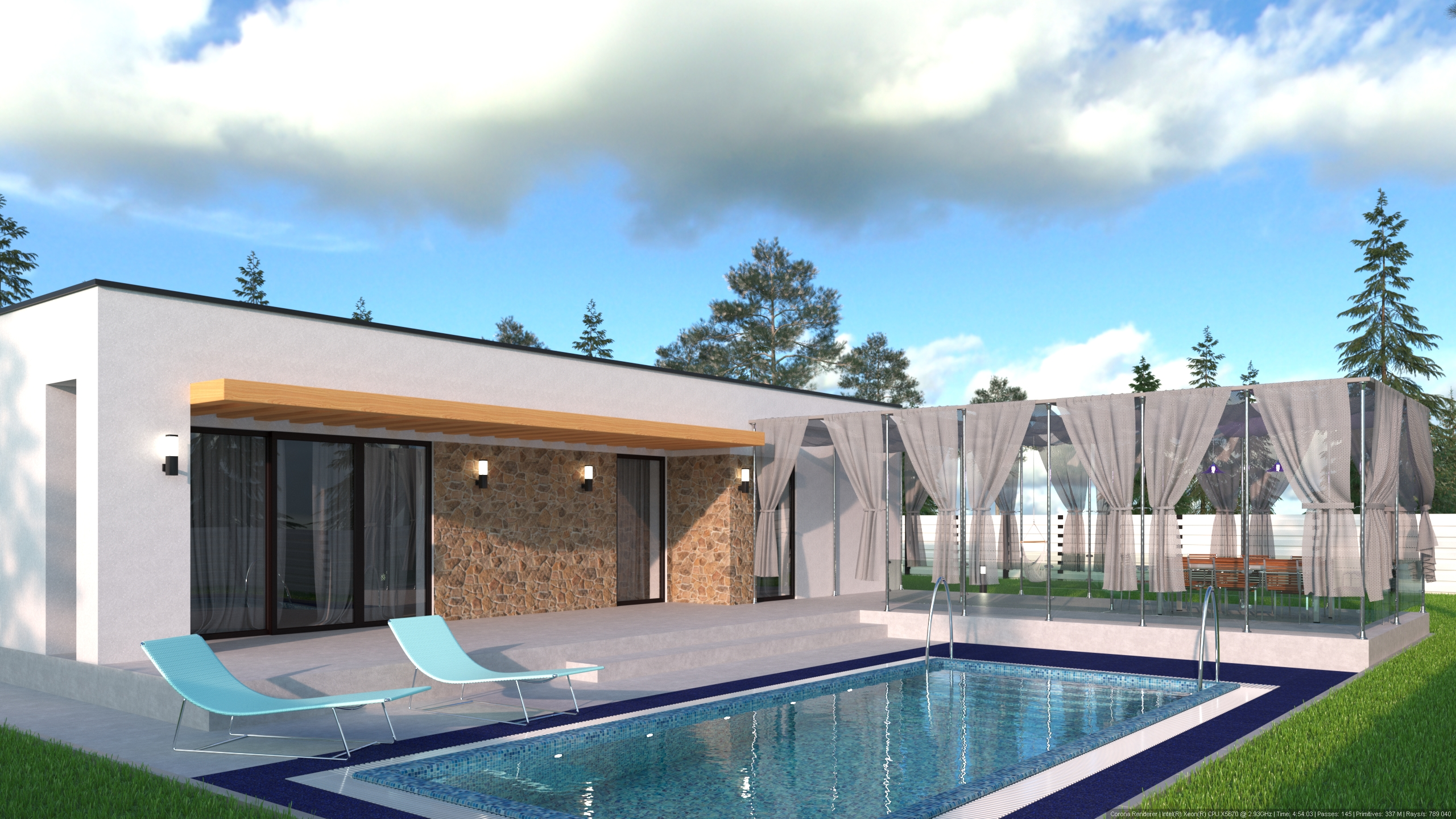 House on the plot in 3d max corona render image