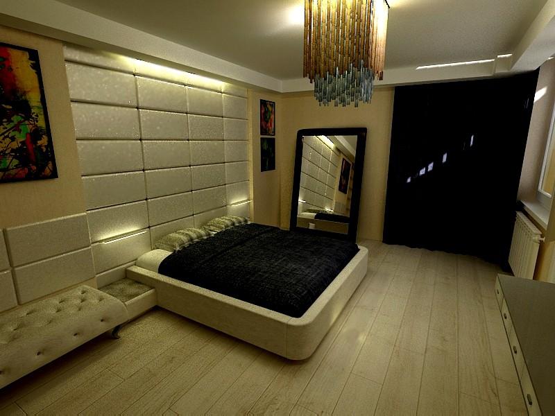 Спальня - мінімалізм в 3d max vray зображення