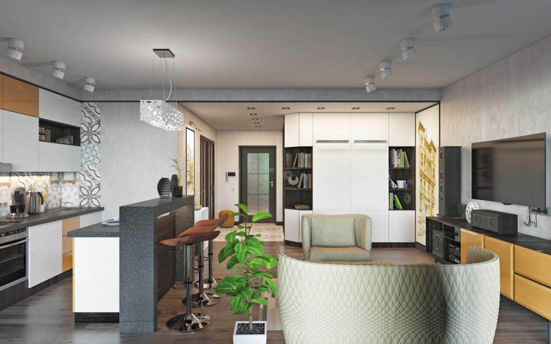 Residential complex. Studio apartment (studio) in 3d max corona render image