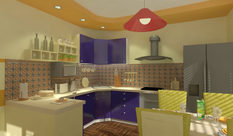 Kitchen with hallway COMPROMISE in 3d max vray 1.5 image