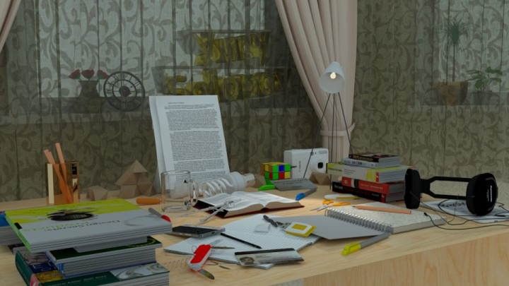 Table by the window in Blender cycles render image