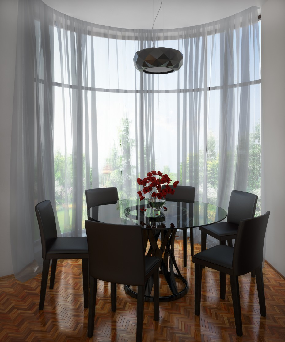Dining area with Bay window  in  3d max   vray  image