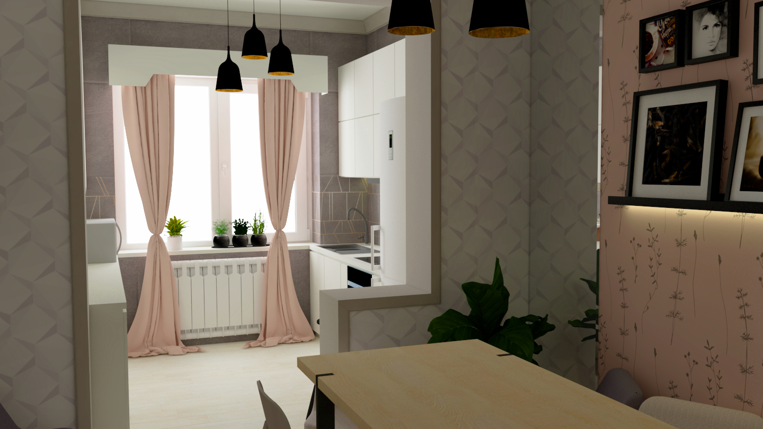 Kitchen-dining room in SketchUp vray 3.0 image