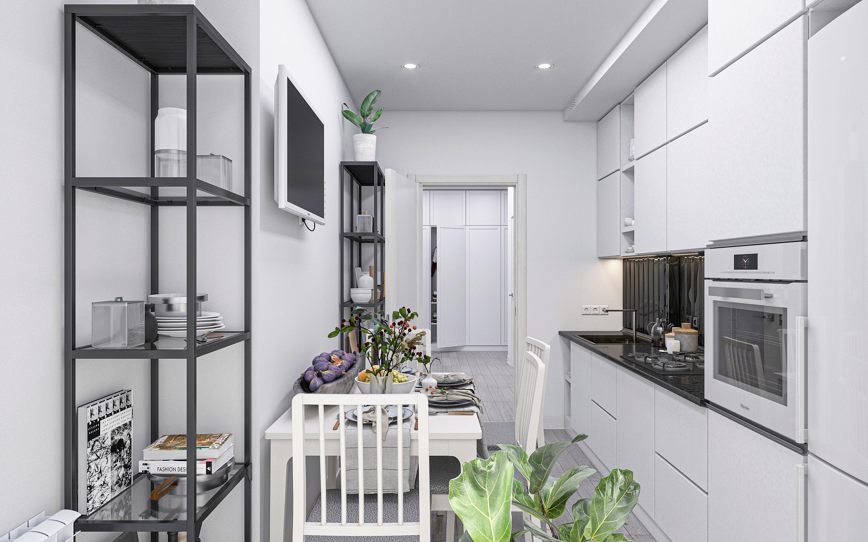 Three-room apartment S73 in 3d max corona render image