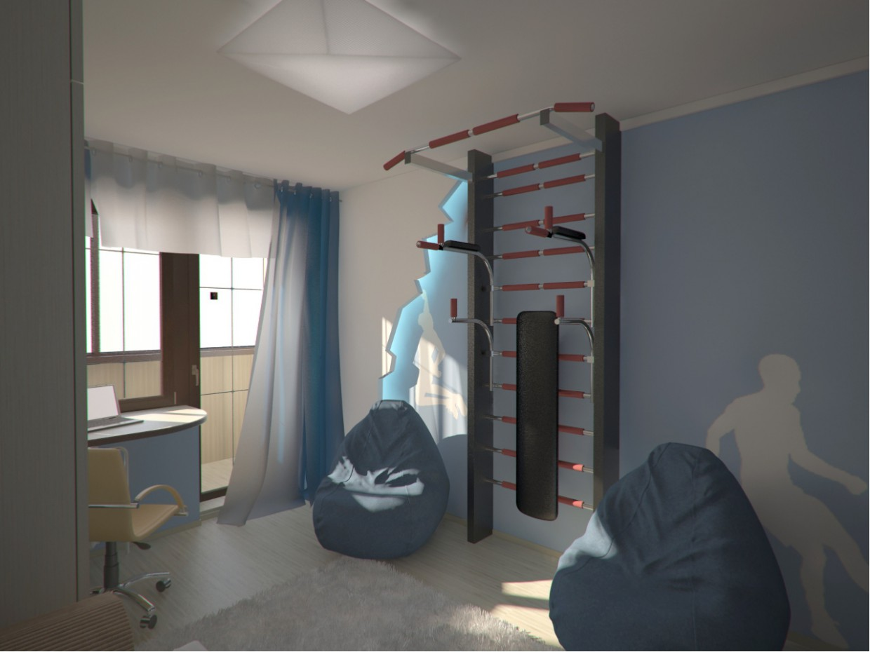 3d visualization of the project in the Room boy 3d max, render vray of grin-81