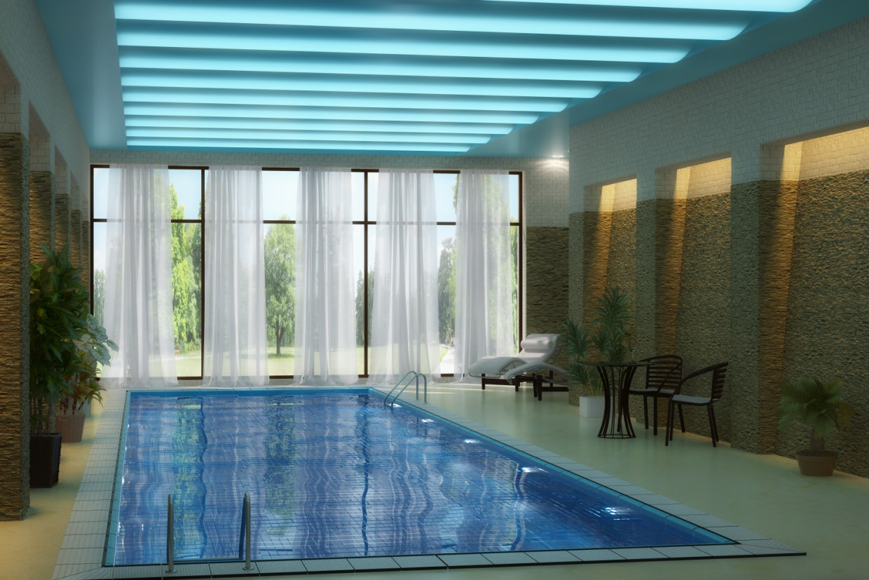 3d visualization of the project in the Pool 3d max, render vray of Tanita