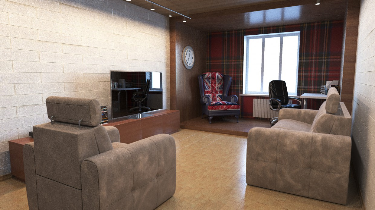 Living room 35 sq.m. in 3d max corona render image