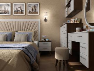 Проект дизайн інтер'єру спальні в квартирі в Чернігові