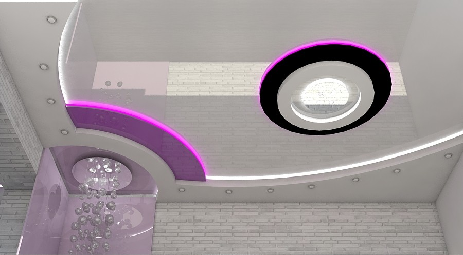 Ceiling and wall decor in 3d max vray image