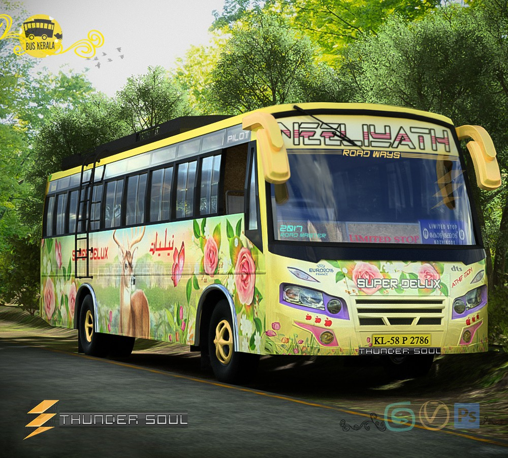 Neeliyath Roadways автобус дизайн Thundersoul в 3d max vray 2.0 изображение